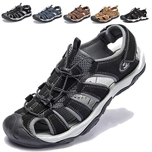 Waterproof Hiking Sandals - KIIU Men's Outdoor Athletic Sandals Closed Toe Sport Sandal Trail Fishermen Sandals (10M Black)