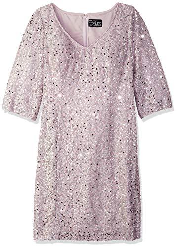 Alex Evenings Women's Plus-Size Midi Length V-Neck Shift Dress with Sleeves, Vintage Peony, 16W