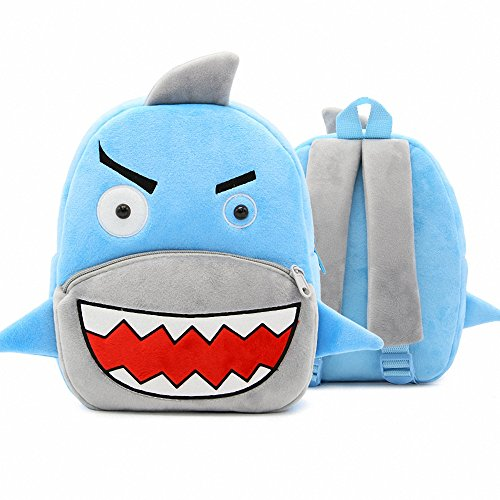 New Toddler's Backpack,Toddler's Mini School Bags Cartoon Cute Animal Plush Backpack for Kids Age 1-4 Years (Shark)
