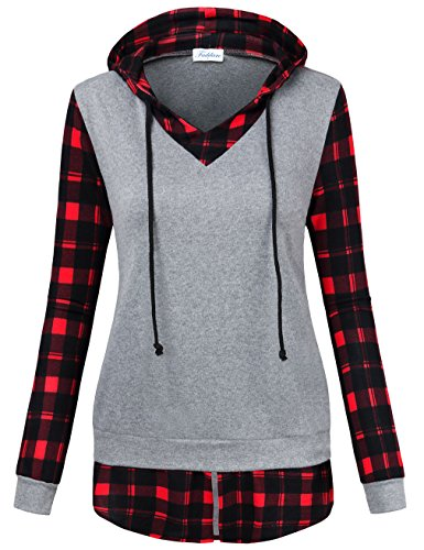 Faddare Ladies Sweaters and Jumpers, Hooded Flannel Shirt Women Trendy Tops Comfy Sport Causal Faux Twinset Trapeze Tunic Hoodie,Grey Red M