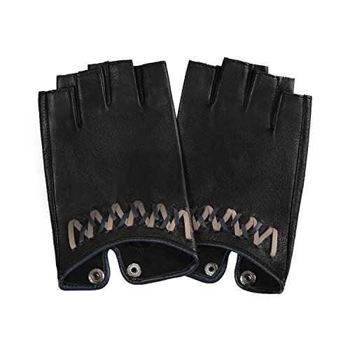 (GSG Womens Driving Gloves Half Finger Ladies Fingerless Leather Gloves Dance Trendy Weave Cycling Party Prom Show Black 8)