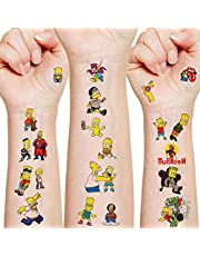12 Sheets Cute Temporary Tattoos for Kids, The Simpsons Party Supplies Simpson Family Party Favors Fake Tattoos for Boys Girls Party Decorations Birthday Gifts Water Bottle Simpson Tattoos Stickers