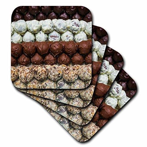 4 Chocolate Belgian Truffles (3dRose Danita Delimont - Food - Belgium, Bruges. Truffles at a belgian chocolate shop - set of 4 Ceramic Tile Coasters (cst_277296_3))