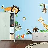 Jungle Safari Animals Wall Sticker/Decal for Baby Nursery, Kids Children Bedroom/Playroom With Lion, Giraffe Monkey Rhinoceros and Birds By The Elegant Wall