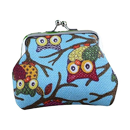 Purse Small Owl Pockets Coin Handbags Style Wallet Hasp 2018 Clearance Fashion Bags Wallet Light Blue Women Lovely Vintage Noopvan Clutch xpwqBnC6O