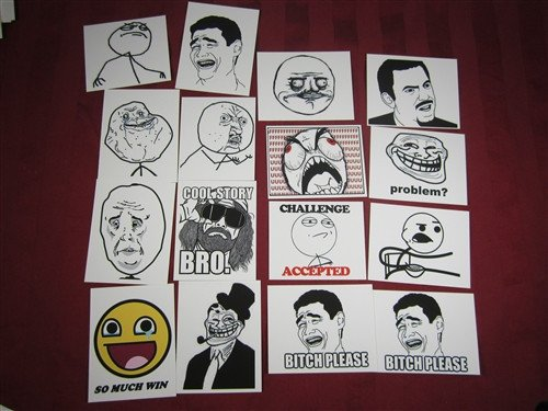 Y U No? Troll Face Bitch Please Mixed Meme Decals Lot of 16 Peel and Stick Die Cut Vinyl Sticker Decal