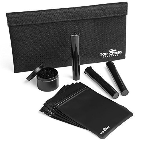 Smell Proof Bag with Accessories - Container Pouch PLUS Grinder, Resealable Bags, and Doob Tubes - Stash Storage Case - Smellproof No Odor Bags (Time Pipe Adventure)