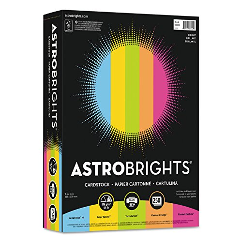 "Astrobrights 99904 Color Cardstock -""Bright"" Assortment, 8 1/2 x 11, 5 Colors, 65lb, 250 Sheets"