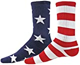 Red Lion Freedom Mismatched Crew Socks (Navy / White / Red - Small
