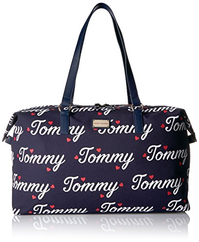 Tommy Hilfiger Women's Script Weekender, Navy/Fiery Red