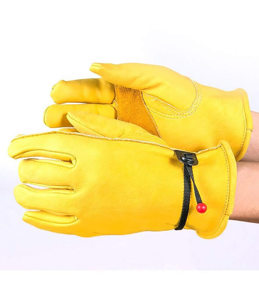 1Pair Resistant Pigskin Leather Gloves Wear Driving Working Repair Safe Gloves