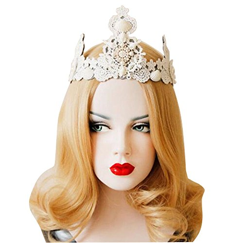 Gothic Snow White Costumes (Lace Crown Wedding Bead Shell Punk Gothic Evil Snow Queen Cosplay Headband White)