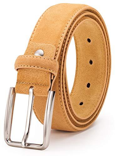 (Suede Leather Belt for Men - BeltRyte Men's Casual Jean Belt - Yellow 48 Inch)
