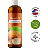 sweet almond oil for hair growth - 100% Pure Sweet Almond Oil for Skin Nails and Hair Growth Aromatherapy Carrier Oil Moisturizing Anti-Aging Treatment Massage Oil for Stretchmarks Scars Dark Circles Wrinkles Beauty Oil for Smooth Skin