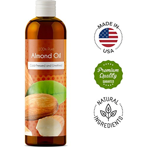 Price comparison product image 100% Pure Sweet Almond Oil for Skin Nails and Hair Growth Aromatherapy Carrier Oil Moisturizing Anti-Aging Treatment Massage Oil for Stretchmarks Scars Dark Circles Wrinkles Beauty Oil for Smooth Skin