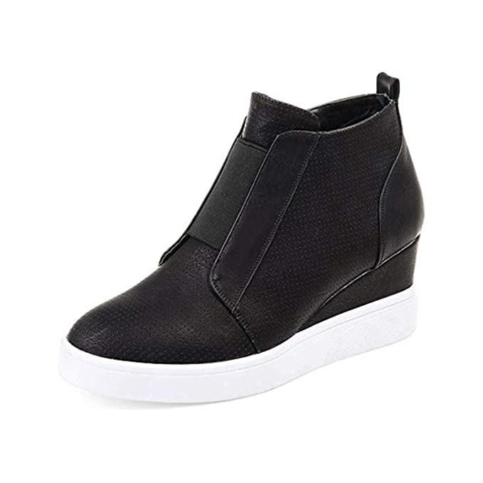 ca3baa26f1427 Raylans Women's High Top Wedge Sneakers Side Zipper Platform Booties Flat  Sport Shoes