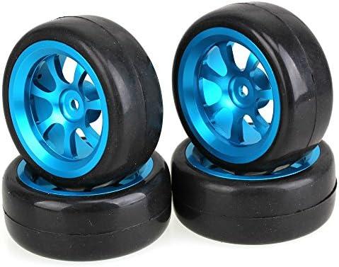 Mxfans RC 1: 10On Road Carブラックスリックタイヤタイヤwithブルー7-spokeアルミニウムホイ