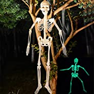 Luminous Skull Skeleton, Scary Halloween Decoration Toy Haunted House Tricky Prop Toy, Glow in The Dark Skelet