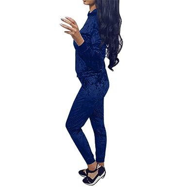 Women Crushed Velvet Lounge Suit Moonuy Ladies Girl 2pcs Sweatshirt