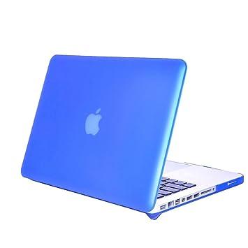 DETUOSI Carcasa MacBook Pro 13, Duro Caso Cubierta Plástica Piel Flip Folio Case Cover para Apple MacBook Pro 13 Funda Carcasa,Azul Oscuro