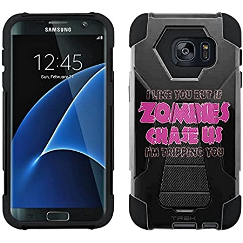 Samsung Galaxy S7 Edge Hybrid Case I Like U But If Zombies Chase Us Pink on Black 2 Piece Style Silicone Case Cover with Stand for Samsung Galaxy S7 Edge Sales