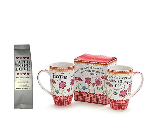May the God of Hope Fill You with All Joy and Peace 1 Coffee Mug with 1 Faith Hope Love Red Velvet Coffee Gift Set 2 Item Bundle
