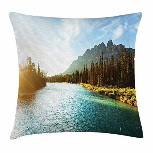 Lunarable River Throw Pillow Cushion Cover, Banff National Park River Stream with Castle Mountain Canada Sunrise, Decorative Square Accent Pillow Case, 20 X 20 Inches, Blue Dark Green Yellow (Canada Bath Bench)