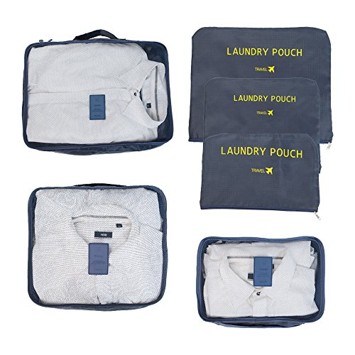 Clothes Travel Luggage Organizer Pouch (Light Blue) Set of 6 - 5