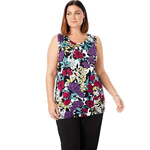 Jessica London Women's Plus Size Sleeveless Crew Neck Sweater - Black Garden Floral, 22/24
