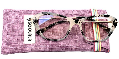 SOOLALA Womens Quality Fashion Alloy Arms Cateye Customized Reading Glasses, Glass, - Length Glasses Arm