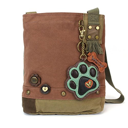 Chala Canvas Crossbody Messenger handBags with Keyfob/ Coin Purse - (Green Paw) (Mauve- Teal Paw)