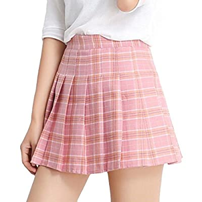 Cekaso Women's Skater Pleated Plaid High Wasit Short Flared Tartan Casual Skirt