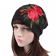 Rose embroidered hat Women's Black ross-stitch Beanie cap,Headwear Accessory for Turbans and Scarves