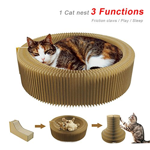 (Evursua Collapsible Cat Kitten Scratcher Lounge Bed Scratching Post Cardboard Cats Bed Interactive Toys with Catnip)