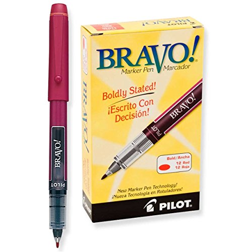 Pilot Marker Broad Tip, Bravo!, Red - 1 Dz