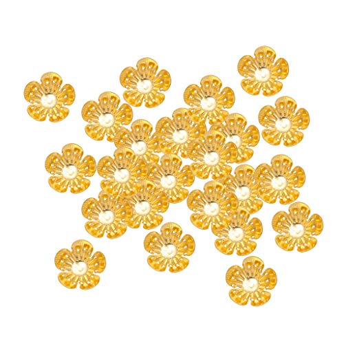 (CUTICATE 100Pcs Gold Plated Filigree Flower Shaped Cap Beads Ends for DIY Tassel, Earring, Necklace Jewelry Making Accessories Findings Supplies - 16mm)