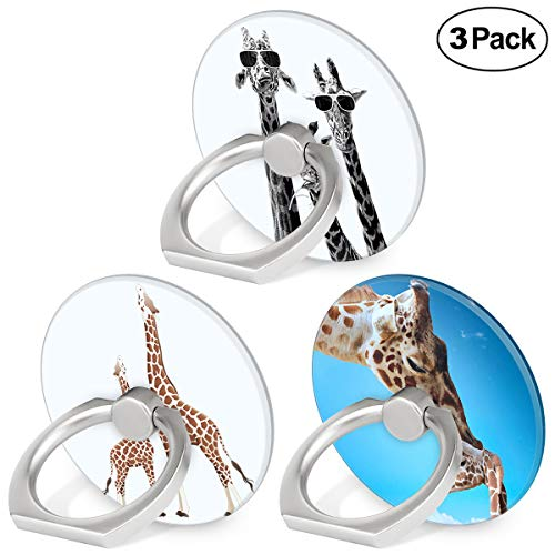 Phone Ring Holder Stand, 360 Degree Rotation Universal Mobile Phone Stand Grip Finger Ring Stand Compatible Smartphones Tablet and Phone Case - Cute Giraffe, 3-Pack