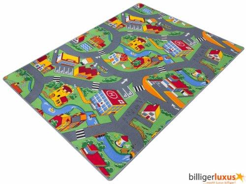 Teppich Kinderteppich Straßen Spielteppich Straßenteppich 133 x 180 cm grau