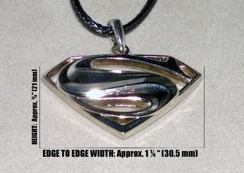 SuperMan/SuperGirl (Man Of Steel Style) 3D Stainless Steel Petite Pendant w/Leather Style Necklace