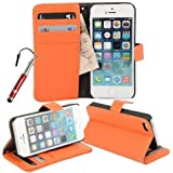 Madcase Apple iPhone SE / 5s / 5 Premium Grained Faux Leather Wallet Case Kickstand Flip cover including Screen protector and Stylus Touch Pen - Orange