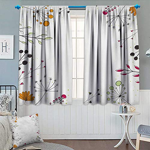 Chaneyhouse Modern Blackout Window Curtain Floral Branches with Geometric Flowers Nature Artwork Print Customized Curtains 55