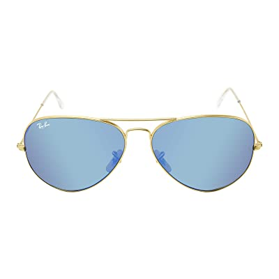 Ray-Ban RB3025 Unisex Aviator Sunglasses Mirrored (Matte Gold Frame/Blue Mirror Lens 112/17, 62): Shoes