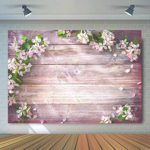Allenjoy 7x5ft Floral Wood Board Backdrop for Wedding Bridal Shower Birthday Party Decor Banner Wooden Texture Pink Flowers Background for Baby Kids Photoshoot Photo Booth Props -