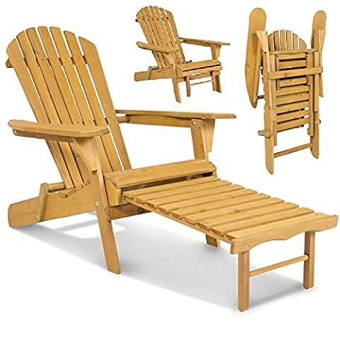 New Elegant Adirondack Outdoor Wood Chair Folding Wooden with Pull Out Ottoman and Adjustable Back Seat Patio Outdoor Deck Porch Garden Lawn Yard Lounger Beach - Classic Collection Adirondack Deck Chair
