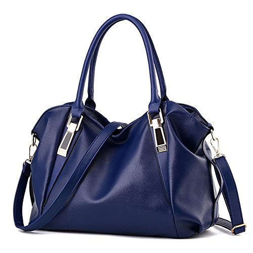 Damen PU Leder Handtaschen Elegante Umhängetasche Frauen Schultertasche Große Kapazität Tasche Blau zO3GJfHfN