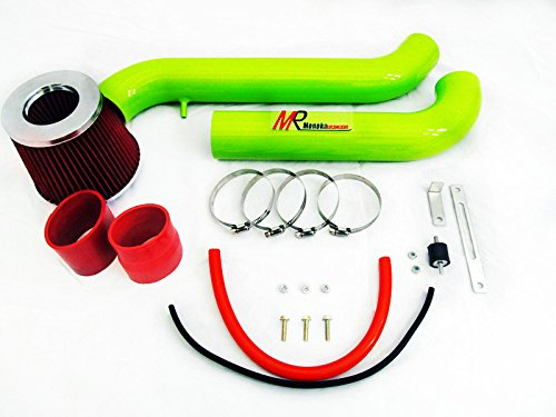 94 95 96 97 98 99 00 01 02 Honda Accord (DX/LX/EX/SE/VP) 2.2L/2.3L L4 GREEN Piping Cold Air Intake System Kit with Red Filter