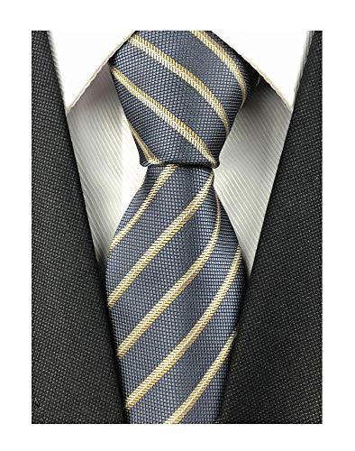 (Mens Bronze Dark Grey Silk Tie Fine Striped Ribbed Jacquard Woven Working Necktie)