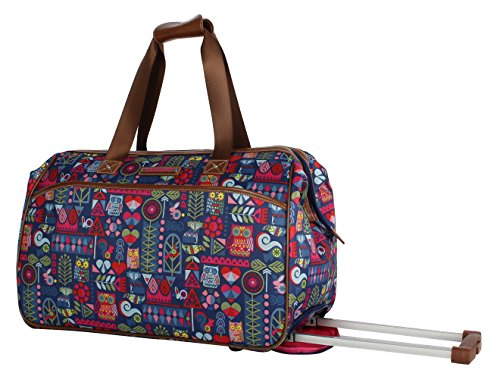 Lily Bloom Luggage Designer Pattern Suitcase Wheeled Duffel Carry On Bag (14in, Geo Critter)