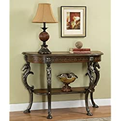 Powell Masterpiece Floral Demilune Console Table with Horse head and Hoofed-foot Cast Legs and Display Shelf