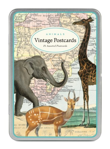 Cavallini Animals Carte Postale, 18 Postcards per Tin